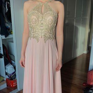 Blush Pink Long Formal Dress with Gold Detailing